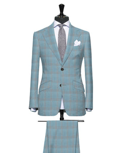 Fresh Light Teal with Sherbet Accent Pattern, Super 150, Wool