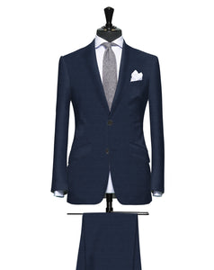 Elegant Navy Blue Textured Solid, Super 160, Wool