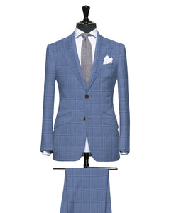 Light Blue Tone on Tone Subtle Windowpane, Super 160, Wool