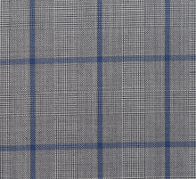 Load image into Gallery viewer, Grey Plaid with Blue Windowpane, Super 150, Wool