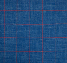 Load image into Gallery viewer, Bold Blue and Pink Windowpane, Super 160, Linen, Silk, Wool Blend