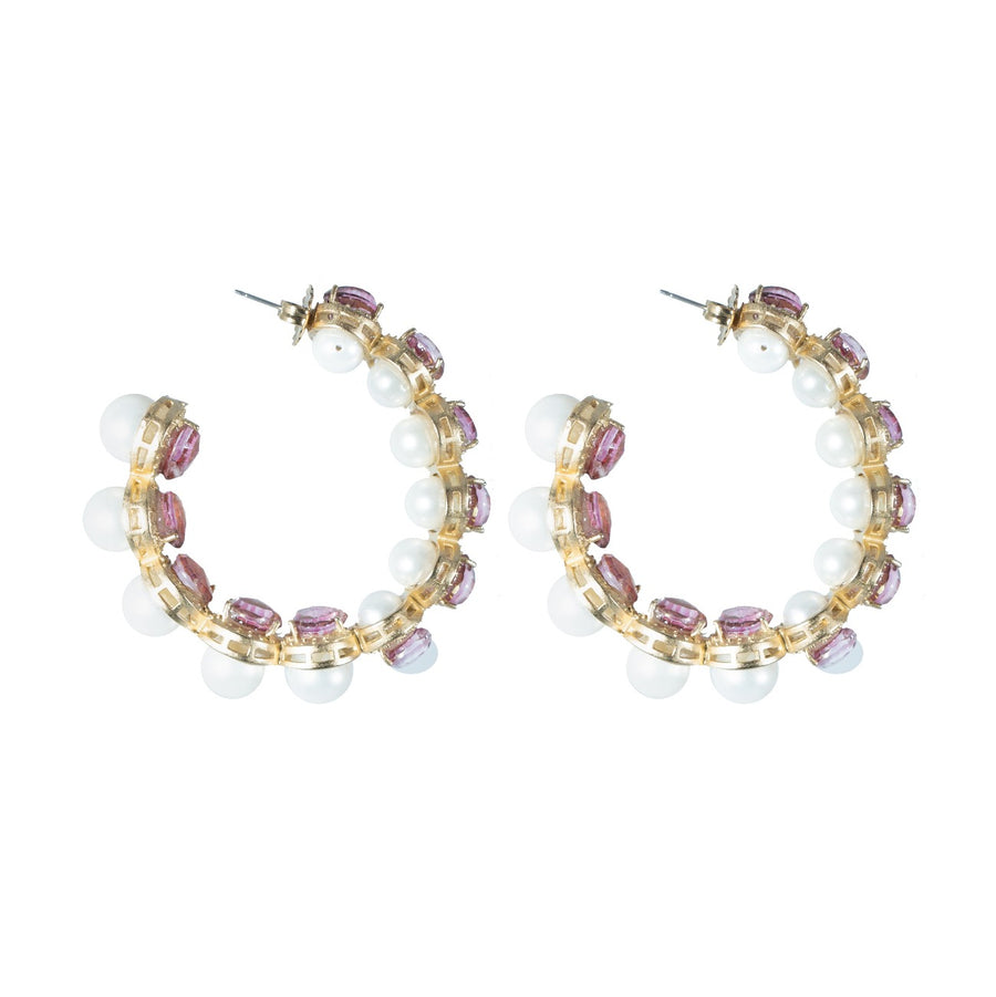 Blanshé Pink & Pearls Hoop Earrings