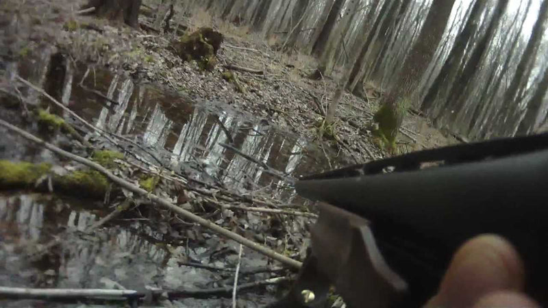 HEADSHOT Shooting a Big Buck with a shotgun GunCam POV