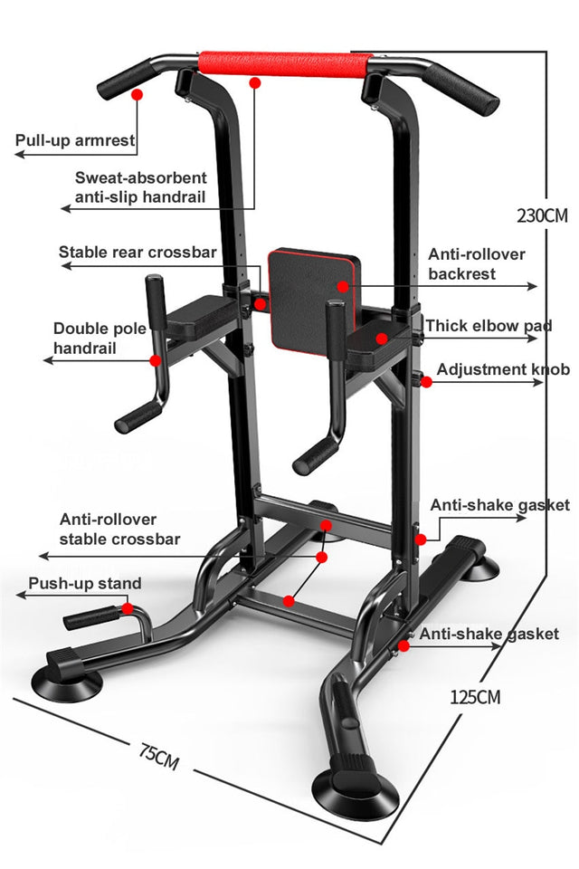 Home pull up bar stand adjustable power tower multi function fitness equipment. Free stand pull up bar with dip