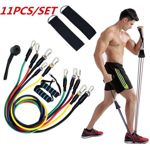 Resistance Bands Set. Home fitness training 11pcs. Home workout bands with resistance