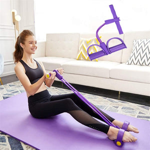 Indoor Fitness Foot Pull resistance bands.Yoga and pilates training elastic ropes.  Complete body fitness workout.