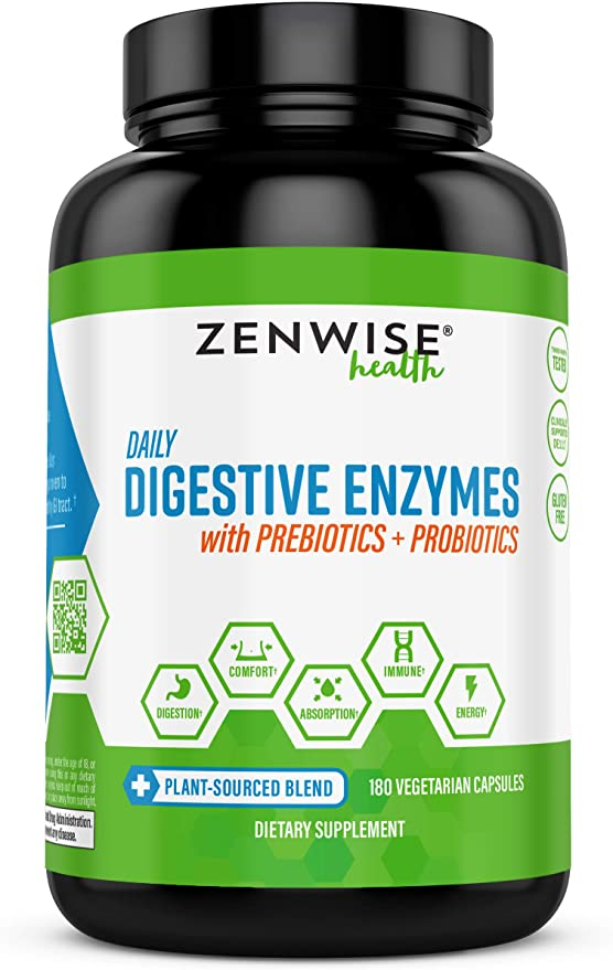 Digestive Enzymes with Prebiotics + Probiotics 180 Vegetarian Capsules - Zenwise Health®