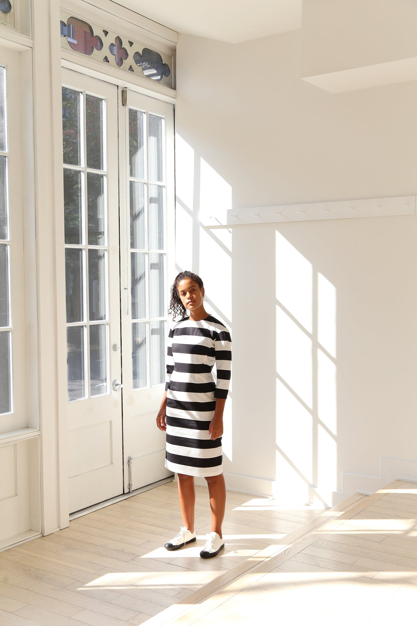 Nina Donis Stripe Dress in Black and White