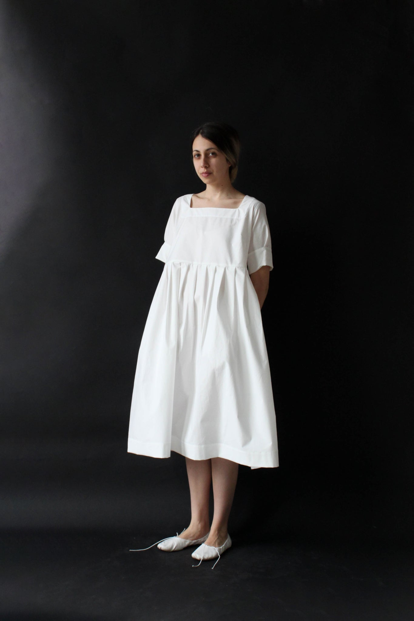 tatiana dress v. 1.0 in white cotton poplin