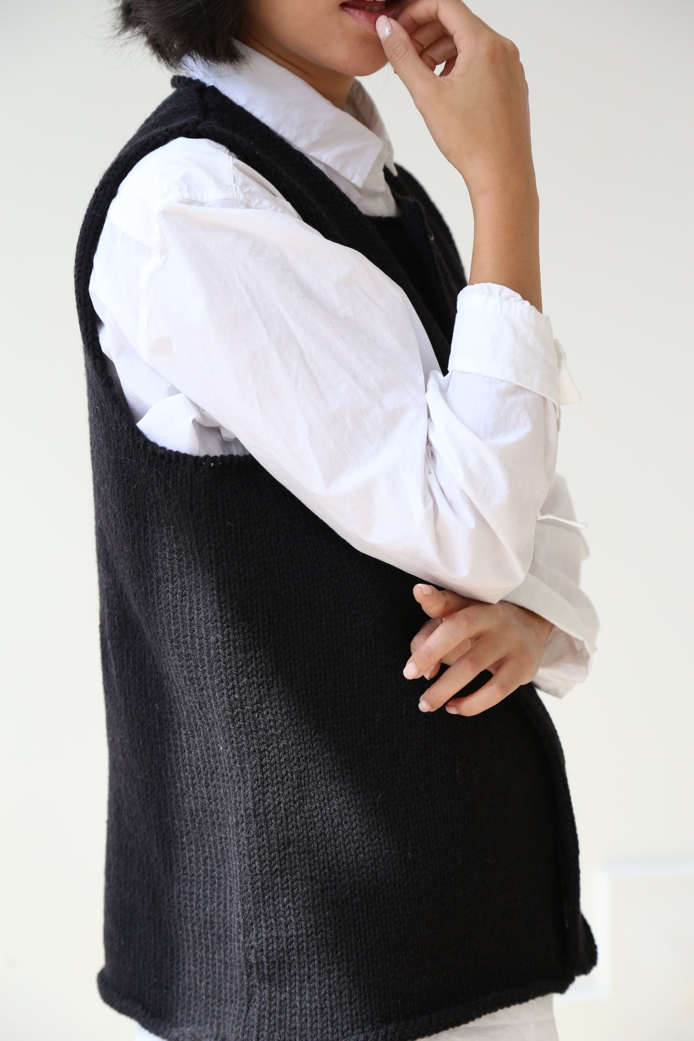 Bergfabel Wool Vest in Black