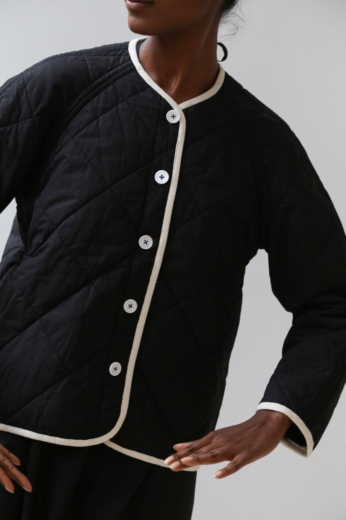 nina donis padded short jacket black