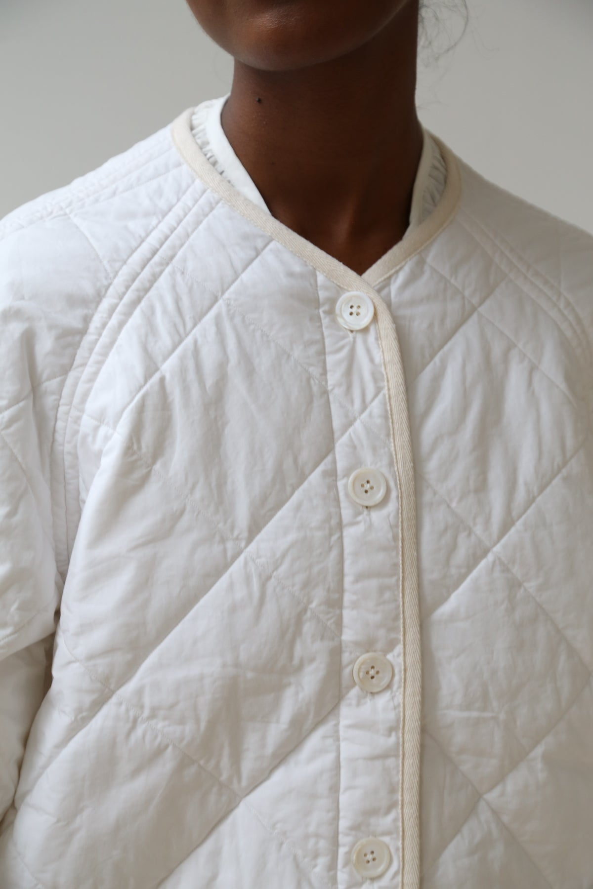 nina donis padded short jacket white