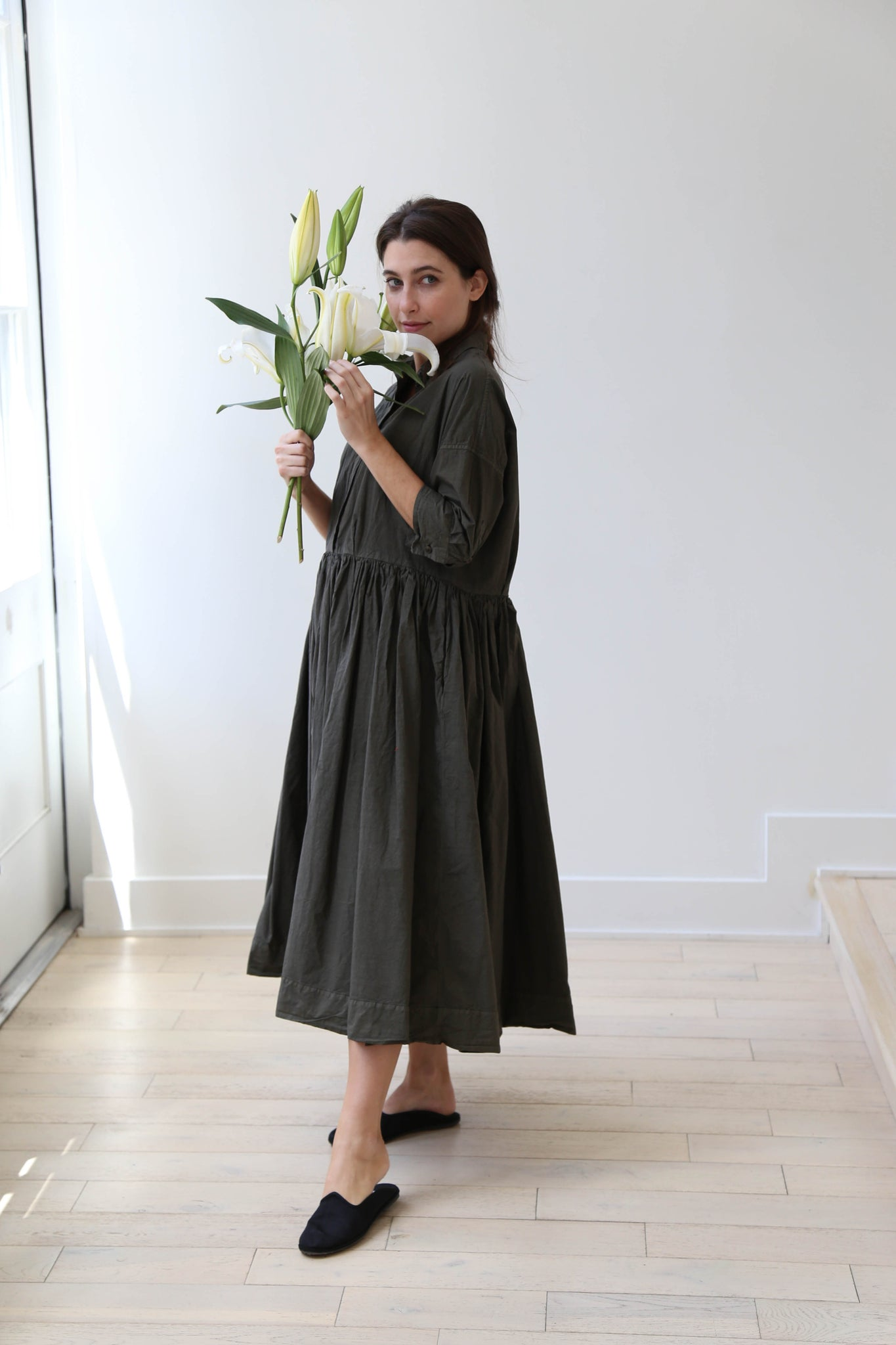 ichi antiquités x rennes linen stripe dress charcoal
