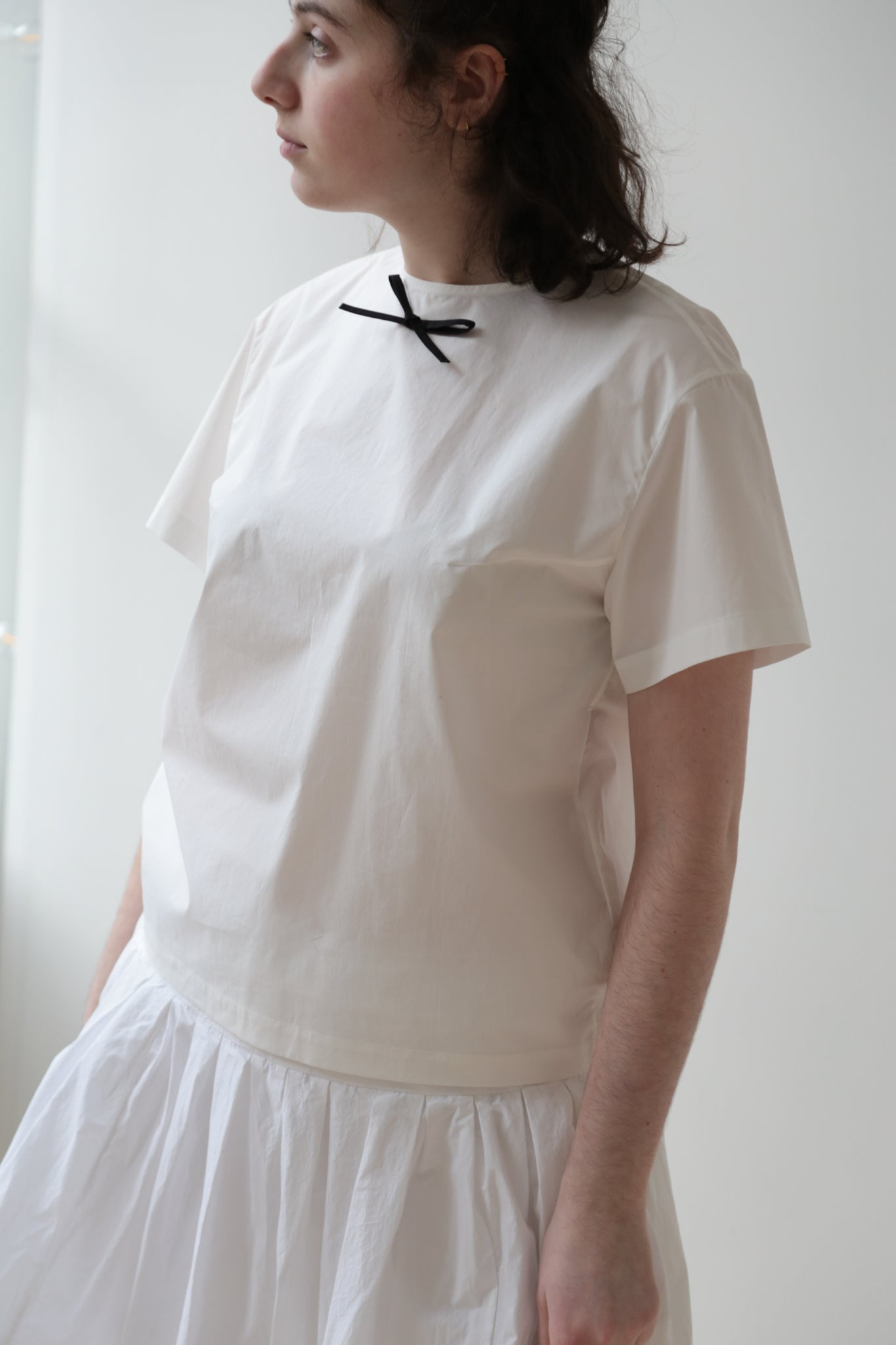Nina Donis Short Sleeve Blouse with Contrast Bow