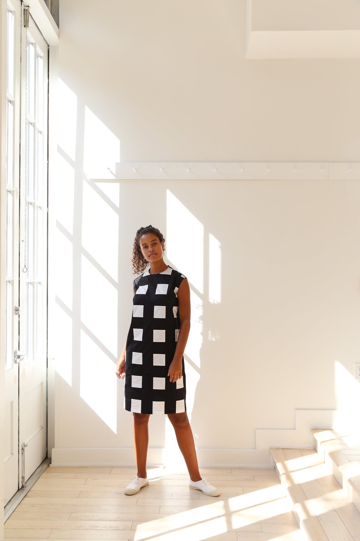 Nina Donis Shift Dress in Black and White Check