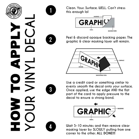 Vinyl Decal Application Instructions - Free Breakfast Apparel