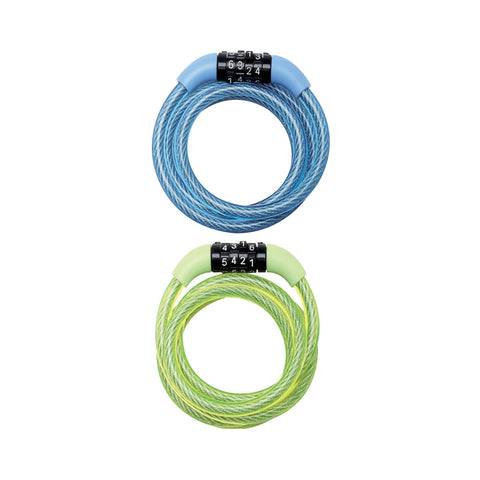 Masterlock 4 DIGIT FIXED COMBINATION  COILED STEEL CABLE LOCK  COLOURS (6PCS = 1BOX - LIGHT BLUE + LIGHT GREEN)