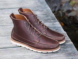 Harrison Boot, handsewn moccasin boot with rubber soles made in Maine, USA