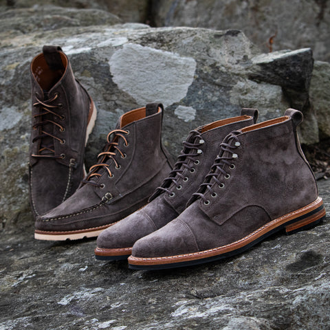 Harrison Boot and Byron Boot in Flint Kudu Suede