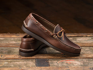 Gilman Camp-moc, handsewn moccasin shoes with rubber soles made in Maine, USA