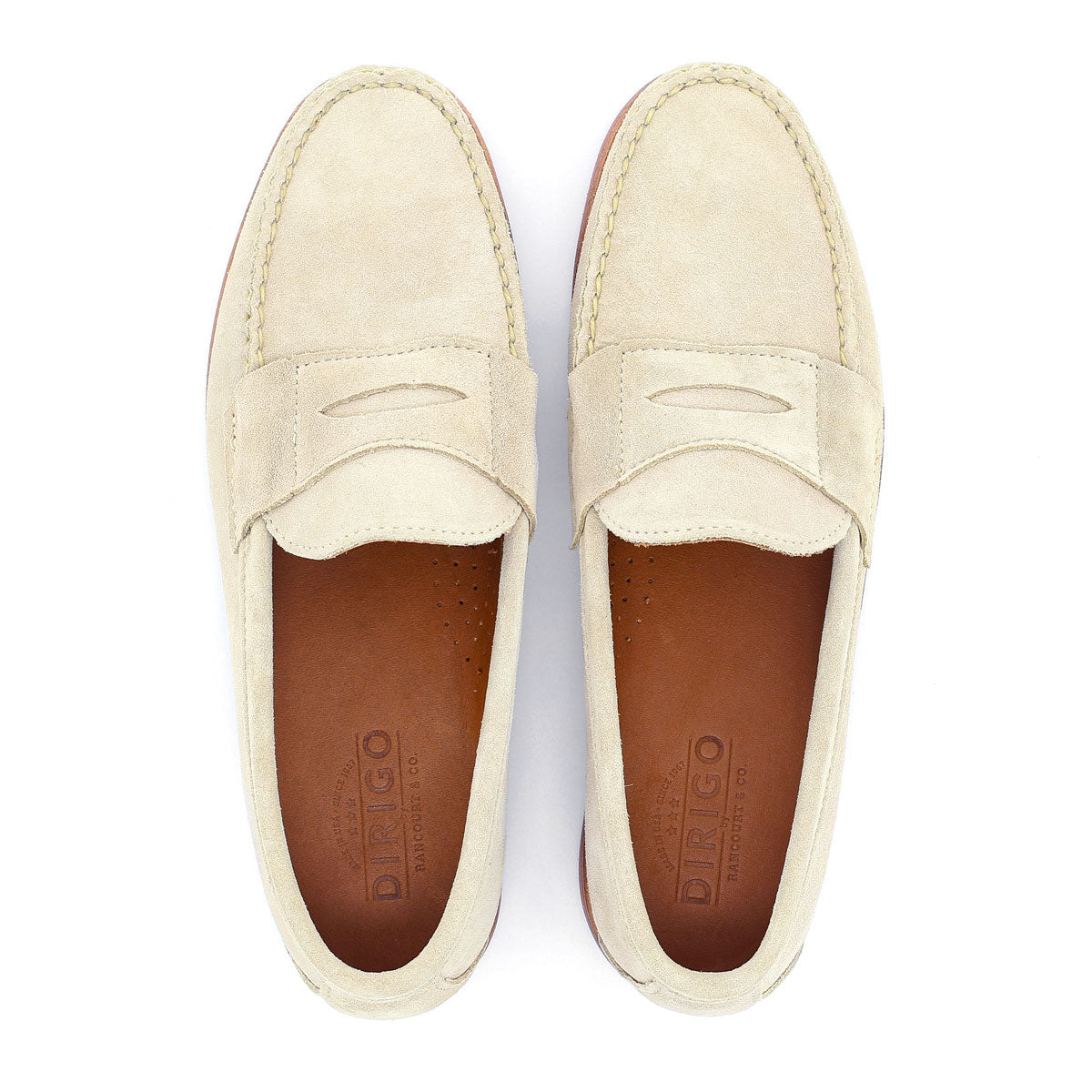 Dirigo Penny Loafers - Cream Suede