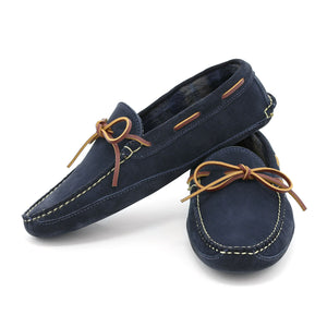 Harrington Slipper - Navy Suede