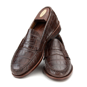 Pinch Penny Loafers - Chocolate Burnished Alligator