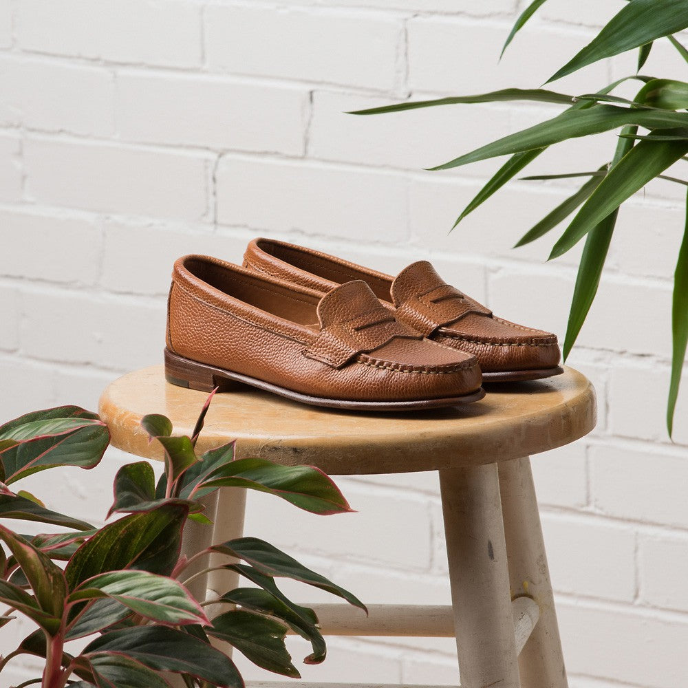 Somerset Penny Loafers - Mahogany Scotch Grain