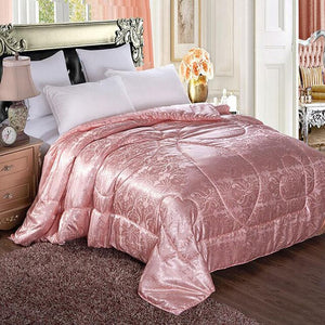 Mulberry Silk Filling Comforter for Winter Thick Quilt All Seasons Twin Queen King Full size Satin Duvet Blanket Solid Color