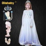 Fancy Girl Floor Length Shine Snow Queen Sequin Elsa Princess Girls Dress with Long Cloak Elsa Party Cosplay Costume Vestidos