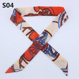100 colors Emulation Silk Leopard Small Bag Handle headband Scarf Women Fashion Luxury Brand Hair Tie Ribbon Scarf