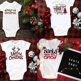 My First Christmas Toddler Jumpsuit Costumes for Infant Party Dress Newborn Cotton Baby Rompers Funny Short Sleeve Playsuit