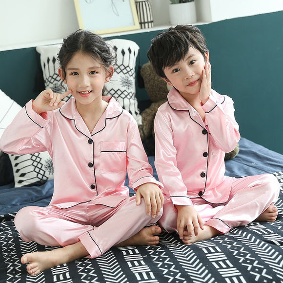 Christmas Pajamas Baby Autumn Winter Long Sleeve Silk Sleepwear Set Solid Color Comfort Girl Boy Nightwear Clothing