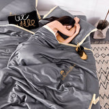 4PCS Set Summer Comforter New 100% Silk Bed Linens Summer Solid Bedding Air Condition Quilts Duvet Washed Cotton Throw Blankets