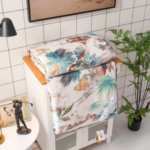 Summer silk quilts embroidery painting patchwork quilts bedding throw blanket 200*230cm high quality comforter 1.6kgs bed covers