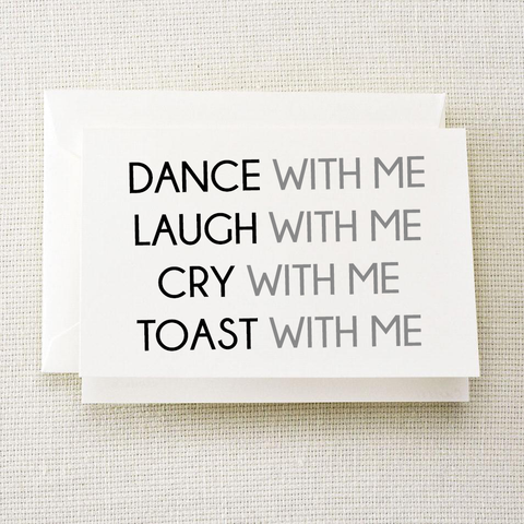Dance, Laugh, Cry, Toast Bridal Party Card