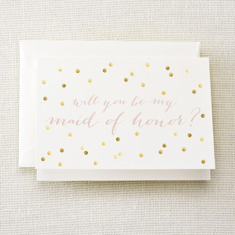 Will You Be My Maid of Honor Gold Polka Dot Card
