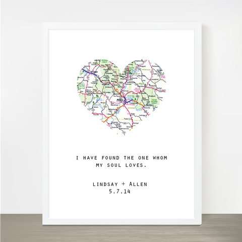 Customizable Map Heart Print