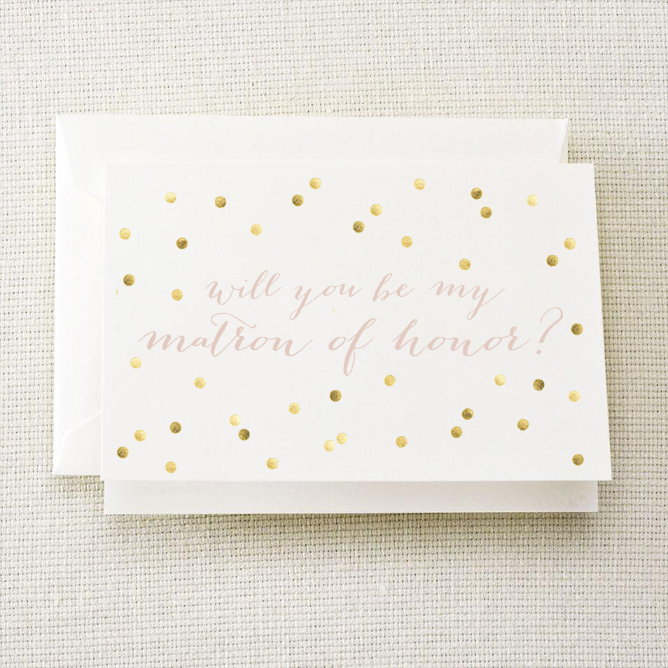 Will You Be My Matron of Honor Gold Polka Dot Card