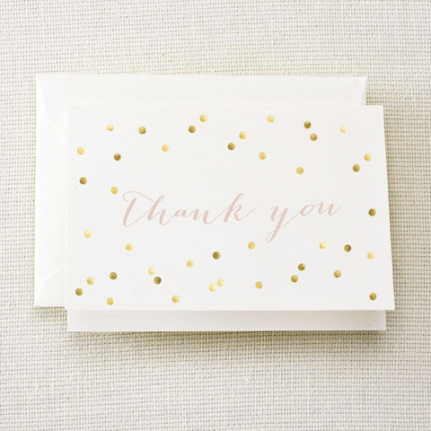 Thank You Gold Polka Dot Card