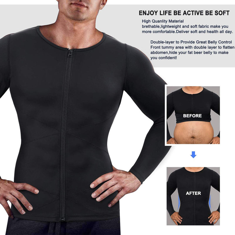 Brabic Men Compression Shirts Long Sleeves with Zipper