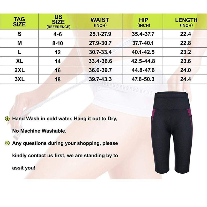 Women High Waist Sauna Sweat Shorts with Pocket