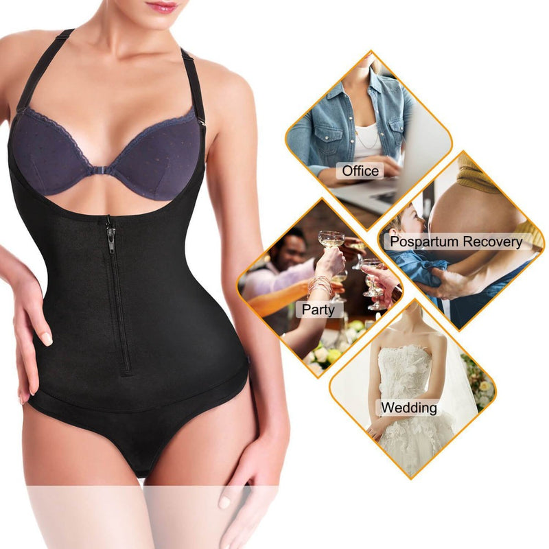 Women Latex Waist Trainer with Zipper Shapewear