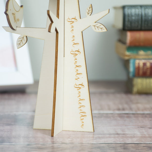 Wooden Personalised Grandparent Family Tree with Birds