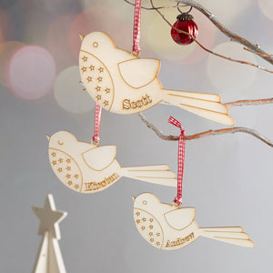 personalised christmas decoration robin design