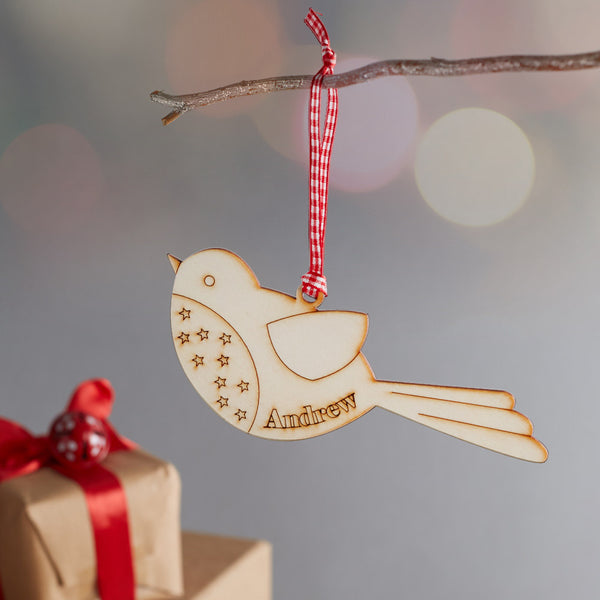 personalised small male robin decoration close up