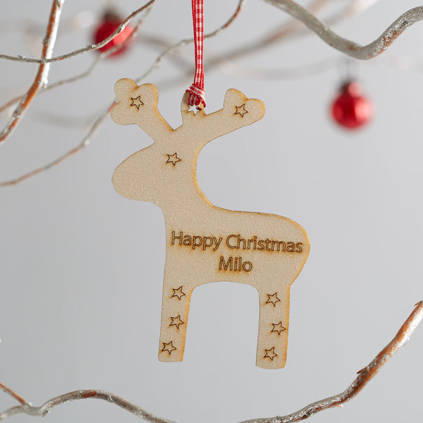 wooden personalised reindeer christmas decoration