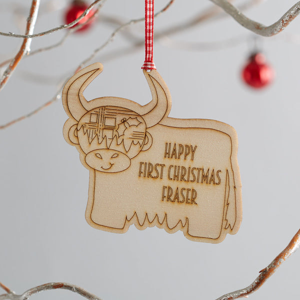 personalised highland cow decoration