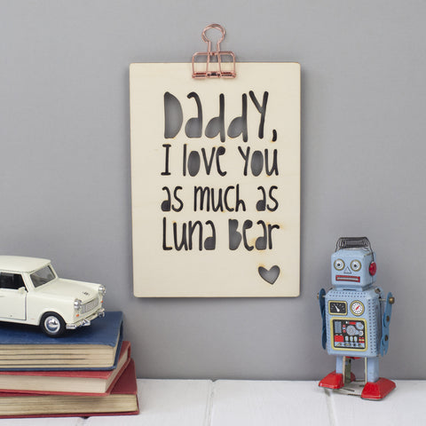 Father's Day Typographic Personalised Wooden Picture