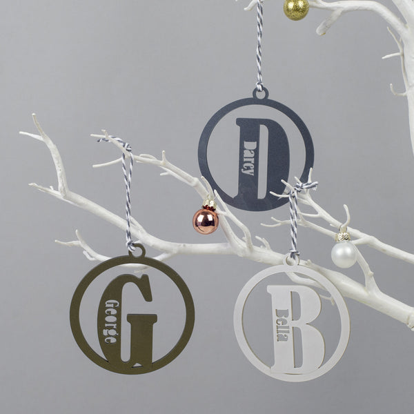 personalised christmas bauble with initial and name